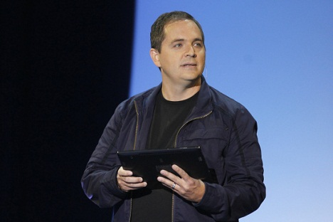 Whitten, head of Xbox Live, demonstrates new XBox feature XBox SmartGlass, at Microsoft XBox news briefing during E3 game expo in Los Angeles